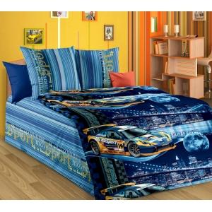 Детское постельное белье Текс Дизайн Неон синий (1,5-спальное, бязь)
