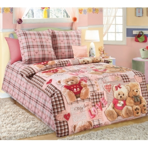 Детское постельное белье Текс Дизайн Плюшевые мишки бежевый (1,5-спальное, бязь)
