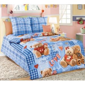 Детское постельное белье Текс Дизайн Плюшевые мишки голубой (1,5-спальное, бязь)
