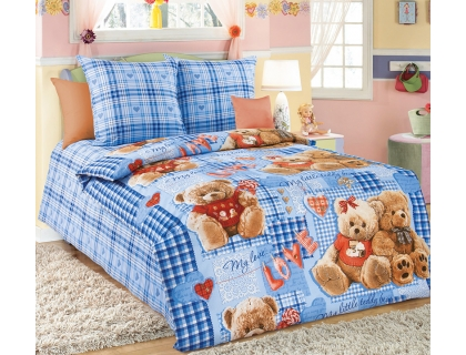 Детский комплект постельного белья из бязи Текс Дизайн Плюшевые мишки голубой (1,5-спальный)