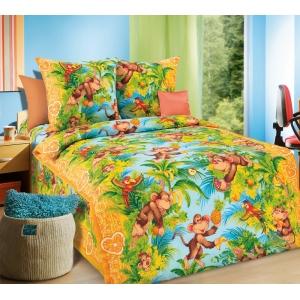 Детское постельное белье Текс Дизайн Обезьянки  (1,5-спальное, бязь)