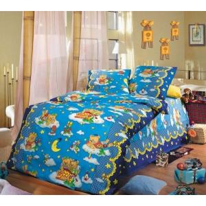 Детское постельное белье Текс Дизайн Сладкий сон синий (1,5-спальное, бязь)