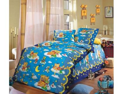 Детский комплект постельного белья из бязи Текс Дизайн Сладкий сон синий (1,5-спальный)