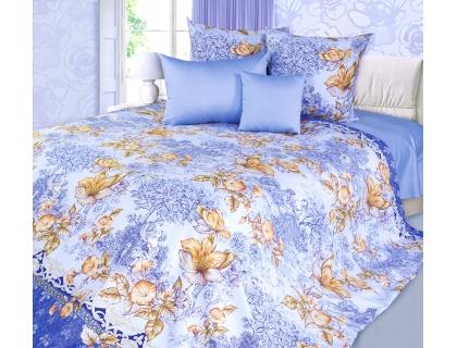 Евро комплект постельного белья из сатина Текс-Дизайн Флирт (голубой)