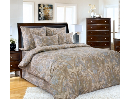 Семейный комплект постельного белья из сатина Текс-Дизайн Кашмир (коричневый)