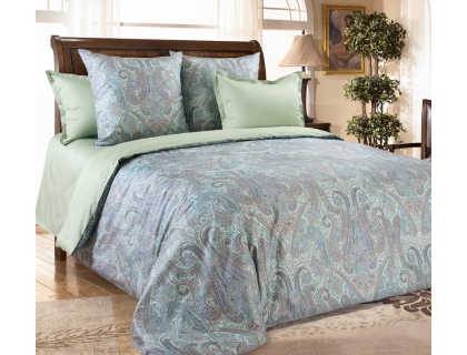 Семейный комплект постельного белья из сатина Текс-Дизайн Кашмир (зеленый)