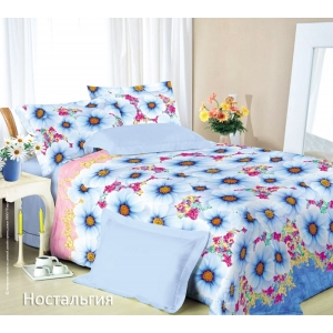 Постельное белье Текс-Дизайн Ностальгия (семейное, сатин, голубой)