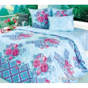 Постельное белье Текс-Дизайн Сеньорита (семейное, сатин, голубой)